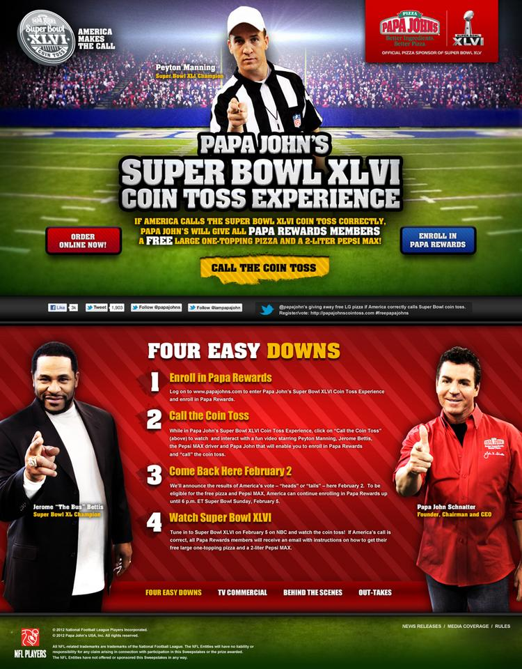 Peyton Manning, top, and Jerome Bettis, left, are taking part in a Super Bowl promotion for Papa John's International Inc. Papa John's founder John Schnatter is shown at right.