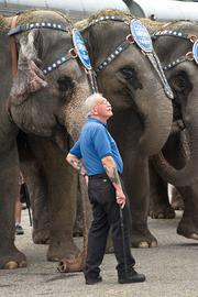 One of the elephant handlers watched a news helicopter circling above the circus trains.