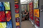 Artist Sharon Spillar, from St. Louis, was one of 750 artists at the St. James Court Art Show this year.