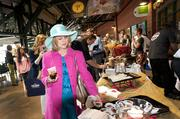 Tammy Donelson came dressed for Derby at the Taste of Kentucky Derby Festival event at Slugger Field Wednesday.