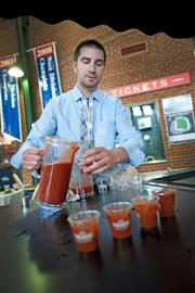 Dirk Drouse with AP Crafters Kitchen and Bar poured a Finlandia Bloody Mary that placed first in a recent competition.