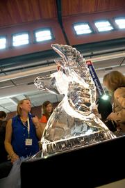 An ice sculpture at Uptown Cafe's table at the Taste of Kentucky Derby Festival event.