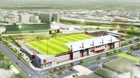The University of Louisville is building this $17.5 million, 5,300-seat soccer stadium near the U of L Belknap campus.
