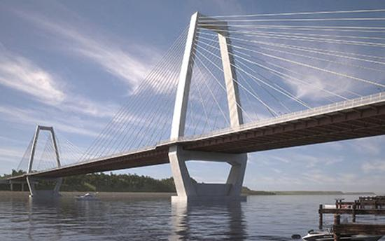 A rendering of the East End Bridge that will be built between Louisville and Southern Indiana.