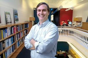 Brad Stengel, co-owner of Stengel Hill Architecture, is shown in his office on Main Street.