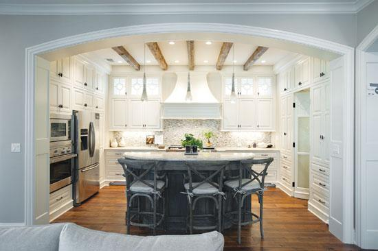 In this 2011 Homearama kitchen in Norton Commons, the design gives the room a French rustic feel.