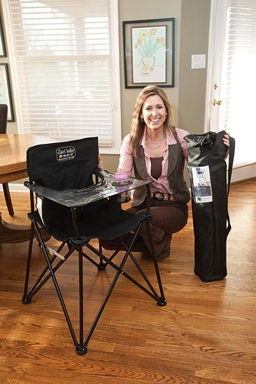 Kim Strong, above, developed the Ciao! Baby portable highchair with partner Jamye Baker.