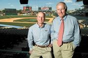 From left, Gary Ulmer, is Bats team president and the son of Dan Ulmer, pictured at right, who is team chairman and retired chairman of PNC Bank, Kentucky Inc.