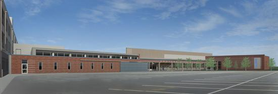 The rendering shows how the rear of Eastern High School will look after the renovation project.