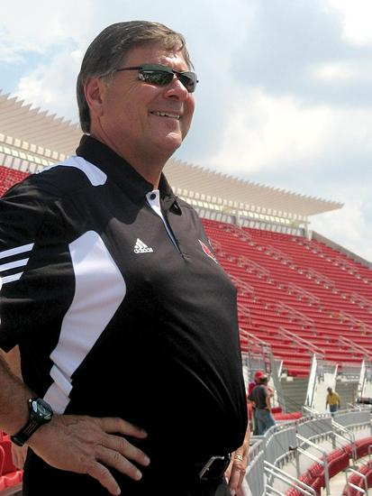University of Louisville athletic director Tom Jurich looks over Papa  John's Cardinal Stadium, one of the many U of L athletics facilities  that have opened or been expanded under his tenure.