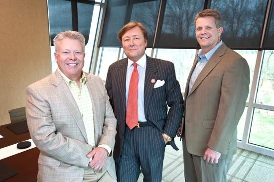 The partners in Robinson Kelley LLC are, from left, Joe Kelley,  Lee Robinson and Mark Kelley. The company recently expanded its space in Colony Shops Retail Center in St. Matthews.
