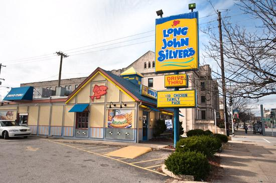 Long John Silver's has more than 1,300 franchised restaurants, including this Louisville location on Broadway.   Long John Silver's Founded: In 1969, in Lexington, Ky.  Moved to Louisville: In 2003, when it became a part of Louisville-based Yum! Brands Inc. Owner: LJS Partners LLC Headquarters: 9500 Williamsburg Plaza, Suite 300 Number of units: 1,300 franchised units Number of employees: 8,400 Web site: www.ljsilvers.com