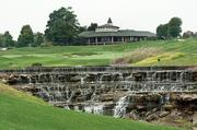 The falls on the 18th hole were altered to allow a more even water flow.