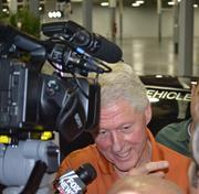 Former President Bill Clinton speaks to reporters at GreenTech event.