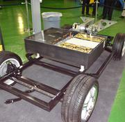Battery packs are embedded in the chassis of GreenTech electric car.