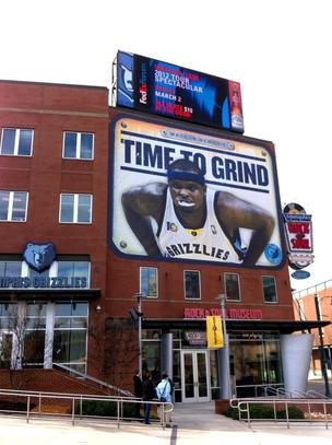 The Grizzlies recently installed this billboard, featuring Zach Randolph, outside FedExForum.