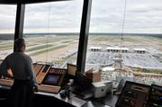 Controller looking south from Memphis airport's new air traffic controller tower