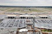 Another view of Memphis International's terminal from the new air traffic control tower.