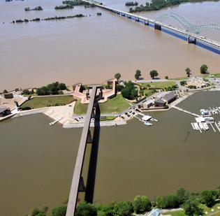 Mississippi River flooding, shown here in Downtown Memphis, forced all nine of Tunica's casinos to close.