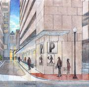 Artist's rendering of the southern entry to One Commerce Square from November 6th St. A metal canopy will provide sheltered access from Union Avenue to the building. A butterfly canopy and new glass vestibule echo the new Monroe entrance.