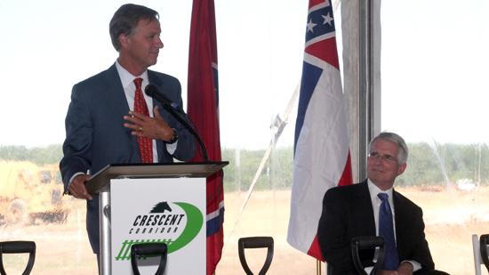 Tennessee Gov. Bill Haslam, with Norfolk Southern CEO Wick Moorman, at the April 2011 groundbreaking for the railroad's intermodal facility in Rossville, Tenn.