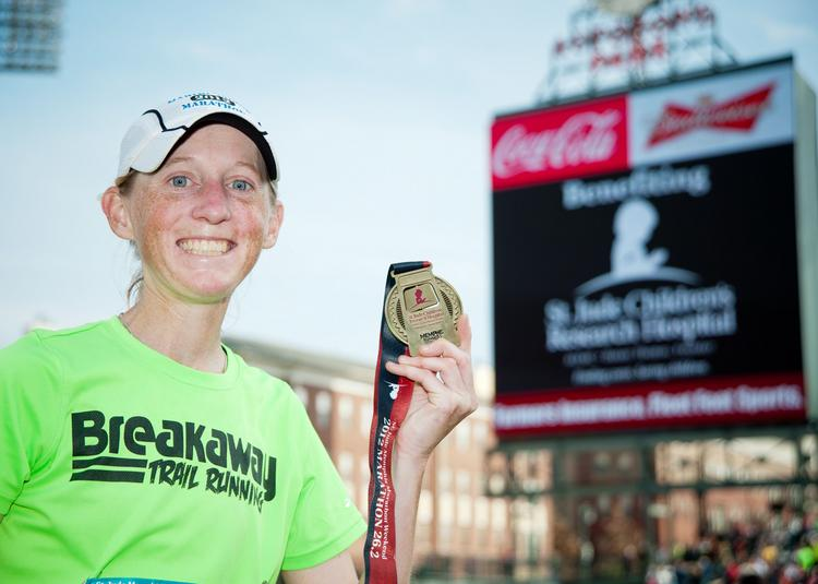 Angie Zinkus of Eads, Tenn., was the top female finisher in the St. Jude Marathon.