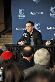 Robert Pera addresses the crowd at press conference introducing the Memphis Grizzlies' new ownership group.