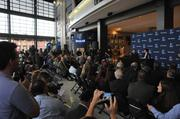 Grizzlies owner Robert Pera's first public appearance in Memphis drew a crowd at FedExForum.