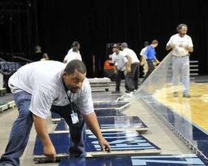 The Grizzlies' floor can be installed and removed in 75 minutes, a requirement because of FedExForum's busy event schedule.