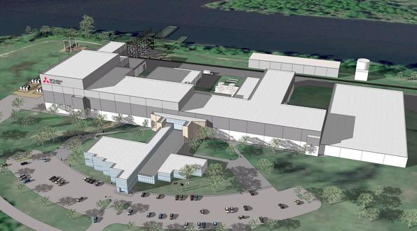 Artist's rendering of Mitsubishi Electric Power Products' plant under construction in Memphis