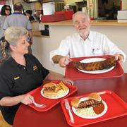 No. 5 (tie) Tops Bar-B-Q  In this photo: Billie Billings, manager of the Tops Bar-B-Q at 4183 Summer Ave., and Tops general manager George Montague