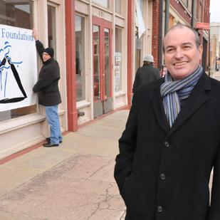 Blues Foundation executive director Jay Sieleman outside the group's recently purchased space in the South Main Historic District