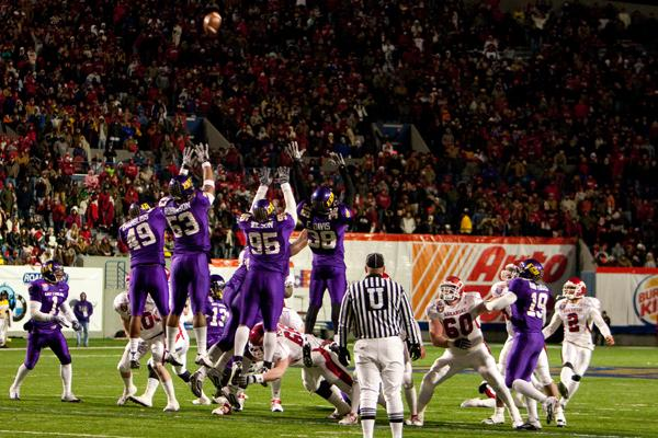 University of Arkansas kicker Alex Tejada nails the winning field goal in overtime in the 2009 Liberty Bowl.