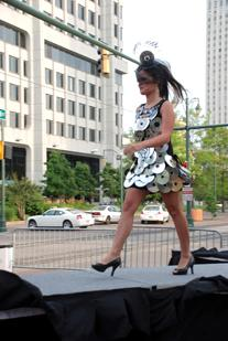 Cathy Wilson created this dress made with CDs for Memphis City Beautiful's Curb Couture Trashion Show last year.