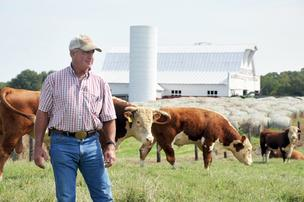 Reuben Rhea, a farmer and chairman of The Bank of Fayette County, says the drought has increased cattle feed costs.
