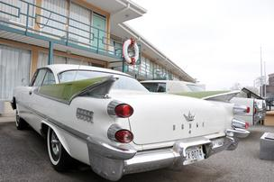 A 1959 Dodge is one of two vehicles parked below the balcony at the Lorraine Motel, where Martin Luther King Jr. was assassinated.
