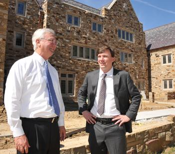 Fred and Justin Grinder at the West Village dorms at Rhodes College. Revenue in 2011 was up strongly at Grinder, Taber & Grinder and other local construction firms.