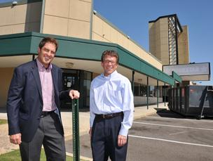 Philip and David Gould outside the old Bookstar space at Poplar Plaza, where they will expand their full-service spa.
