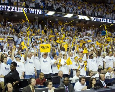 Sold-out FedExForum after a win during last season's playoff run by the Memphis Grizzlies
