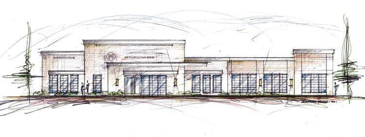 Artist's rendering of new Metropolitan Bank branch at 5264 Poplar