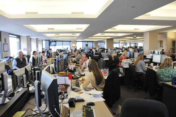 The trading floor at Raymond James