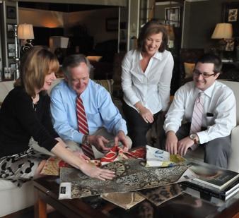 Harry Samuels (second From Left) Checks Fabric Samples With Children  Lesley, Laurie And Design