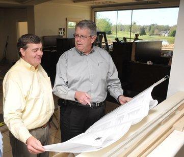 Designer Doug Thornton and Alan Sims, Southern Bancorp's DeSoto president