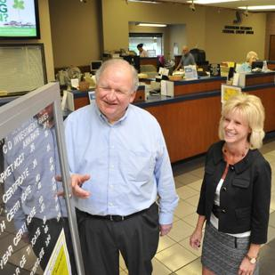 David Gadd and Dawn Graeter at Southern Security Federal Credit Union. Gadd is retiring and Graeter, who has taken over as CEO, sees a lot of growth opportunities.