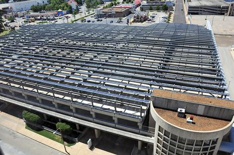 Memphis Bioworks Foundation used federal incentives to help fund the  $3.75 million solar array that is installed on the upper floor of a  nearby parking garage.