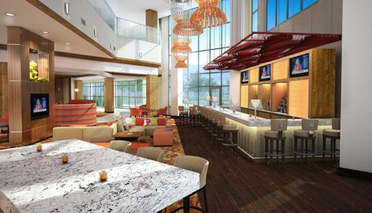 Artist's rendering of the lobby area of Memphis Marriott East, a former Holiday Inn Select property that is currently being renovated.