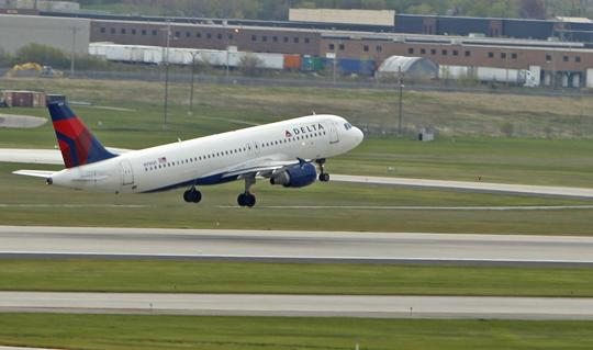 Delta leads airlines with traffic gains at the Dayton International Airport with a nearly 14 percent increase in passengers for the month.