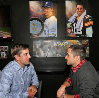 Ryan Braun, right, with Aaron Rodgers at the opening of 8-Twelve MVP Bar & Grill.