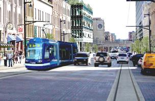 The proposed downtown streetcar would run on North Broadway in Milwaukee, a central hub for underground telecommunication lines.
