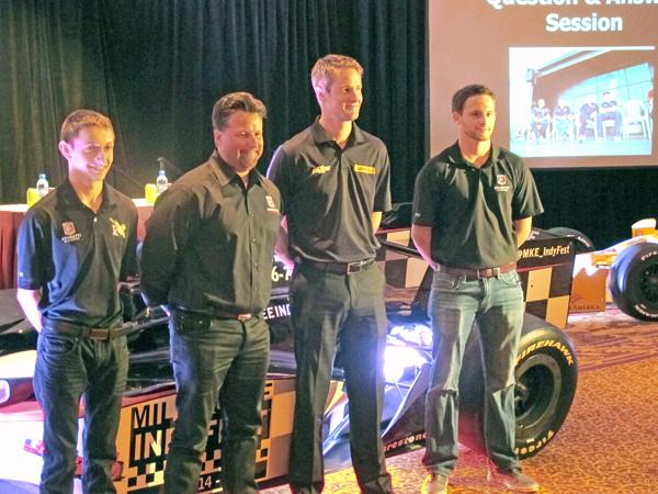 Drivers Zach Veach (left), Ryan Hunter-Reay (second from right) and Shelby Blackstock (right) joined Michael Andretti (second from left) of Andretti Sports Marketing at The Pfister hotel ballroom.